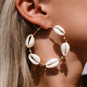 New Hoop Seashore Shell Gold Earrings Vici Dolls